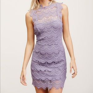Free People Daydream Bodycon Lace Slip in Lilac
